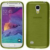 Silikon Hülle Galaxy S4 Mini Plus I9195 brushed pastellgrün + 2 Schutzfolien