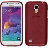 Silikon Hülle Galaxy S4 Mini Plus I9195 brushed rot + 2 Schutzfolien