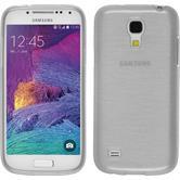 Silikon Hülle Galaxy S4 Mini Plus I9195 brushed weiß + 2 Schutzfolien