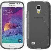 Silikon Hülle Galaxy S4 Mini Plus I9195 S-Style grau + 2 Schutzfolien