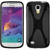Silikon Hülle Galaxy S4 Mini Plus I9195 X-Style schwarz + 2 Schutzfolien