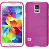Silicone Case for Samsung Galaxy S5 brushed hot pink