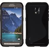 Silikon Hülle Galaxy S5 Active S-Style schwarz + 2 Schutzfolien