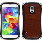 Silikonhülle für Samsung Galaxy S5 Lederoptik rotbraun