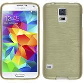 Silikon Hülle Galaxy S5 mini brushed gold + 2 Schutzfolien