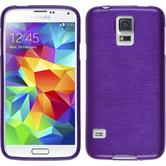 Silikon Hülle Galaxy S5 mini brushed lila + 2 Schutzfolien