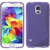 Silikon Hülle Galaxy S5 mini S-Style lila + 2 Schutzfolien