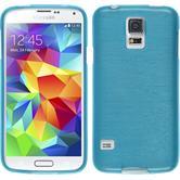 Silikon Hülle Galaxy S5 Neo brushed blau + 2 Schutzfolien