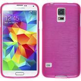 Silikon Hülle Galaxy S5 Neo brushed pink + 2 Schutzfolien