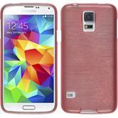 Silikon Hülle Galaxy S5 Neo brushed rosa + 2 Schutzfolien