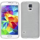 Silikon Hülle Galaxy S5 Neo brushed weiß + 2 Schutzfolien