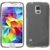 Silikon Hülle Galaxy S5 Neo S-Style grau + 2 Schutzfolien