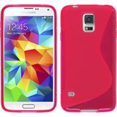 Silikon Hülle Galaxy S5 Neo S-Style pink + 2 Schutzfolien