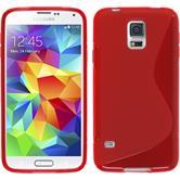 Silikon Hülle Galaxy S5 Neo S-Style rot + 2 Schutzfolien