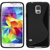 Silikon Hülle Galaxy S5 Neo S-Style schwarz + 2 Schutzfolien