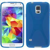 Silikon Hülle Galaxy S5 Neo X-Style blau + 2 Schutzfolien