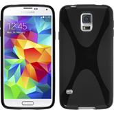 Silikon Hülle Galaxy S5 Neo X-Style schwarz + 2 Schutzfolien