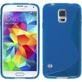 Silikon Hülle Galaxy S5 S-Style blau + 2 Schutzfolien