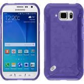 Silikon Hülle Galaxy S6 Active S-Style lila + 2 Schutzfolien