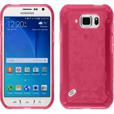 Silikon Hülle Galaxy S6 Active S-Style pink + 2 Schutzfolien