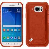 Silikon Hülle Galaxy S6 Active S-Style rot + 2 Schutzfolien