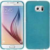 Silikon Hülle Galaxy S6 brushed blau + 2 Schutzfolien
