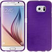 Silikon Hülle Galaxy S6 brushed lila + 2 Schutzfolien