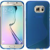 Silikon Hülle Galaxy S6 Edge S-Style blau + flexible Folie