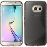 Silikon Hülle Galaxy S6 Edge S-Style grau + flexible Folie