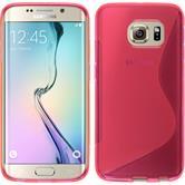 Silikon Hülle Galaxy S6 Edge S-Style pink + flexible Folie