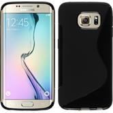 Silikon Hülle Galaxy S6 Edge S-Style schwarz + flexible Folie