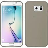 Silikon Hülle Galaxy S6 Edge Slimcase grau + flexible Folie