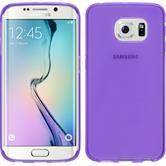 Silikon Hülle Galaxy S6 Edge transparent lila + flexible Folie