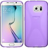 Silikon Hülle Galaxy S6 Edge X-Style lila + flexible Folie