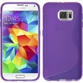 Silikon Hülle Galaxy S6 S-Style lila + 2 Schutzfolien