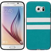 Silikon Hülle Galaxy S6 Stripes türkis + 2 Schutzfolien