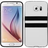 Silikon Hülle Galaxy S6 Stripes weiß + 2 Schutzfolien