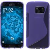 Silikon Hülle Galaxy S7 S-Style lila + 2 Schutzfolien