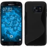 Silikon Hülle Galaxy S7 S-Style schwarz + 2 Schutzfolien