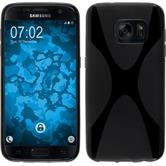 Silikon Hülle Galaxy S7 X-Style schwarz + 2 Schutzfolien