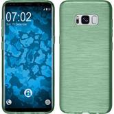 Silikon Hülle Galaxy S8 brushed pastellgrün + flexible Folie