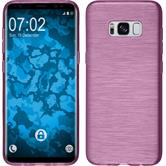 Silikon Hülle Galaxy S8 brushed pink + flexible Folie