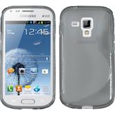 Silikon Hülle Galaxy S Duos S-Style grau + 2 Schutzfolien