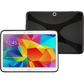 Silikon Hülle Galaxy Tab 4 10.1 X-Style schwarz + 2 Schutzfolien