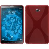 Silikon Hülle Galaxy Tab A 10.1 (2016) X-Style rot + 2 Schutzfolien