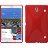 Silikon Hülle Galaxy Tab S 8.4 X-Style rot + 2 Schutzfolien