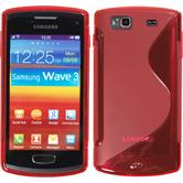 Silicone Case for Samsung Galaxy Wave 3 S-Style red