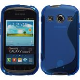 Silikon Hülle Galaxy Xcover 2 S-Style blau + 2 Schutzfolien