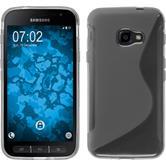 Silikon Hülle Galaxy Xcover 4 S-Style grau + 2 Schutzfolien