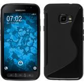 Silikon Hülle Galaxy Xcover 4 S-Style schwarz + 2 Schutzfolien